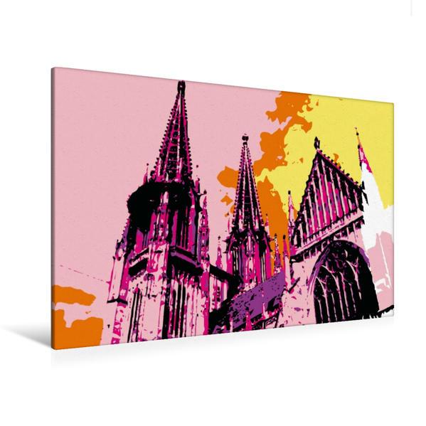 Premium Textil-Leinwand 120 cm x 80 cm quer, Regensburger Dom   Wandbild, Bild auf Keilrahmen, Fertigbild auf echter Leinwand, Leinwanddruck - Coverbild