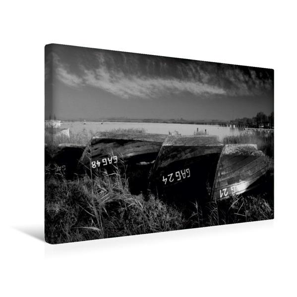 Premium Textil-Leinwand 45 cm x 30 cm quer, Boote im Winter (Rügen)   Wandbild, Bild auf Keilrahmen, Fertigbild auf echter Leinwand, Leinwanddruck - Coverbild