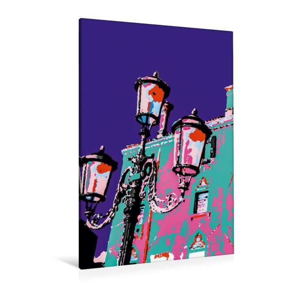 Premium Textil-Leinwand 80 cm x 120 cm  hoch, Dogenpalast mit Beleuchtung | Wandbild, Bild auf Keilrahmen, Fertigbild auf echter Leinwand, Leinwanddruck - Coverbild