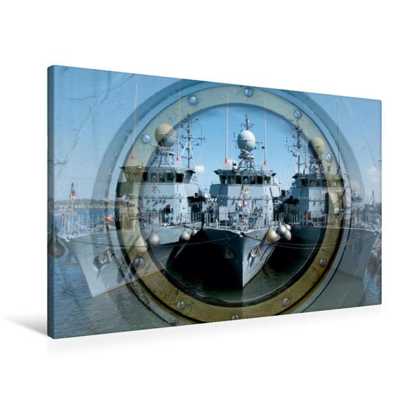 Premium Textil-Leinwand 90 cm x 60 cm quer, Ein Motiv aus dem Kalender Marinestützpunkt Kiel | Wandbild, Bild auf Keilrahmen, Fertigbild auf echter Leinwand, Leinwanddruck - Coverbild