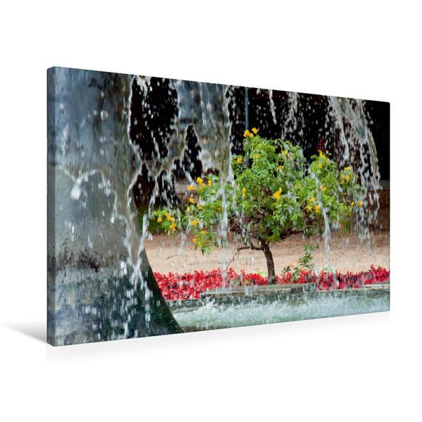 Premium Textil-Leinwand 75 cm x 50 cm quer, Brunnen in der Hauptallee | Wandbild, Bild auf Keilrahmen, Fertigbild auf echter Leinwand, Leinwanddruck - Coverbild