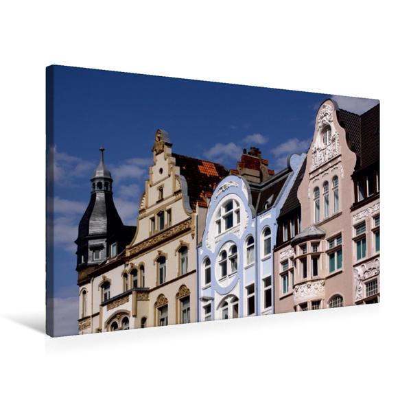Premium Textil-Leinwand 75 cm x 50 cm quer, Schöne Häuser in Hameln   Wandbild, Bild auf Keilrahmen, Fertigbild auf echter Leinwand, Leinwanddruck - Coverbild