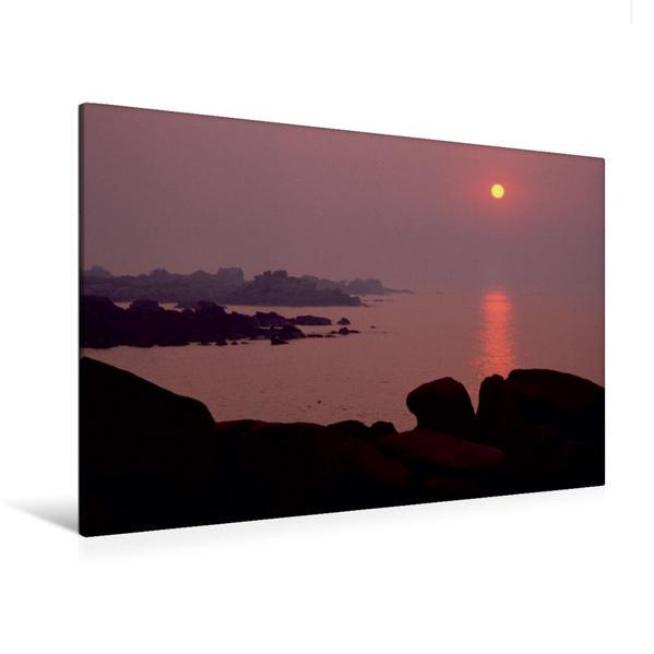 Premium Textil-Leinwand 120 cm x 80 cm quer, Ein Motiv aus dem Kalender Bretagne, die Côte de Granit Rose, rosa Granit in seiner schönsten Form. | Wandbild, Bild auf Keilrahmen, Fertigbild auf echter Leinwand, Leinwanddruck - Coverbild