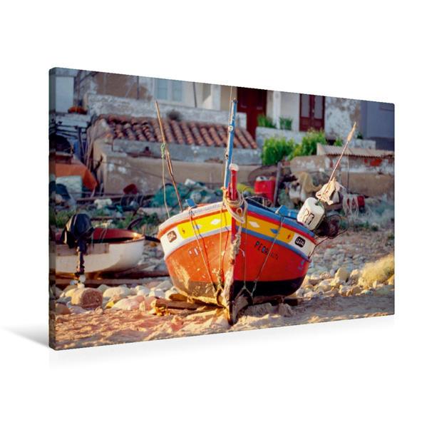 Premium Textil-Leinwand 90 cm x 60 cm quer, Ein Motiv aus dem Kalender Portugal, traditionelle Fischerboote | Wandbild, Bild auf Keilrahmen, Fertigbild auf echter Leinwand, Leinwanddruck - Coverbild
