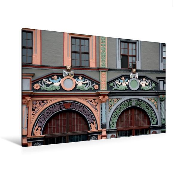 Premium Textil-Leinwand 120 cm x 80 cm quer, Cranachhaus in Weimar | Wandbild, Bild auf Keilrahmen, Fertigbild auf echter Leinwand, Leinwanddruck - Coverbild