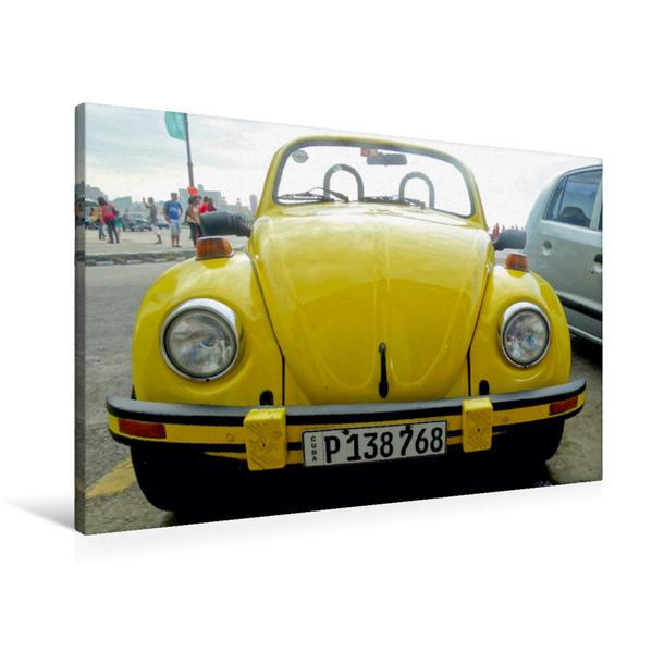 Premium Textil-Leinwand 90 cm x 60 cm quer, VW Käfer Cabrio in Havanna | Wandbild, Bild auf Keilrahmen, Fertigbild auf echter Leinwand, Leinwanddruck - Coverbild