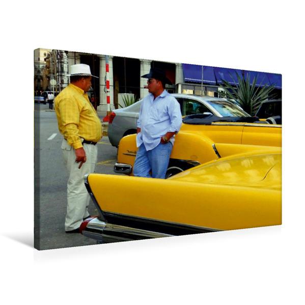 Premium Textil-Leinwand 75 cm x 50 cm quer, Ein Motiv aus dem Kalender GELB-FIEBER - OLDTIMER IN HAVANNA   Wandbild, Bild auf Keilrahmen, Fertigbild auf echter Leinwand, Leinwanddruck - Coverbild