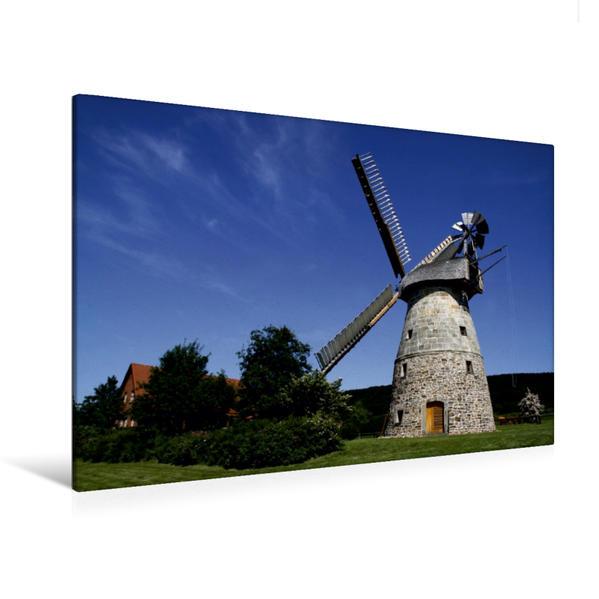 Premium Textil-Leinwand 120 cm x 80 cm quer, Röckemanns Mühle Eisbergen (Erdholländer)   Wandbild, Bild auf Keilrahmen, Fertigbild auf echter Leinwand, Leinwanddruck - Coverbild