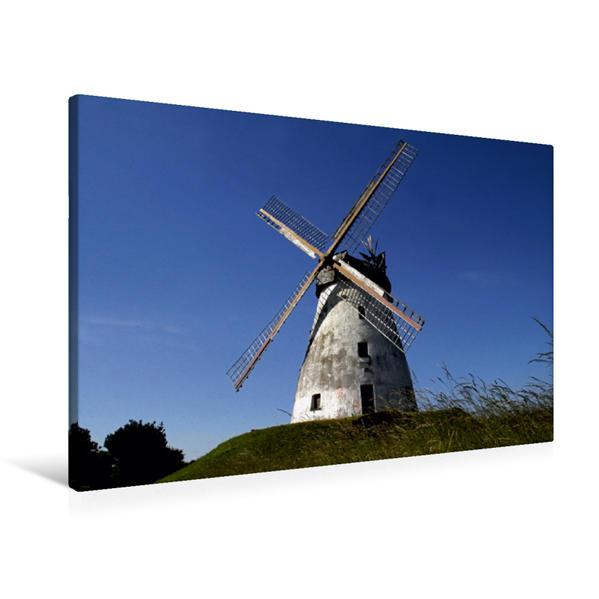 Premium Textil-Leinwand 90 cm x 60 cm quer, Windmühle Veltheim (Erdholländer) | Wandbild, Bild auf Keilrahmen, Fertigbild auf echter Leinwand, Leinwanddruck - Coverbild