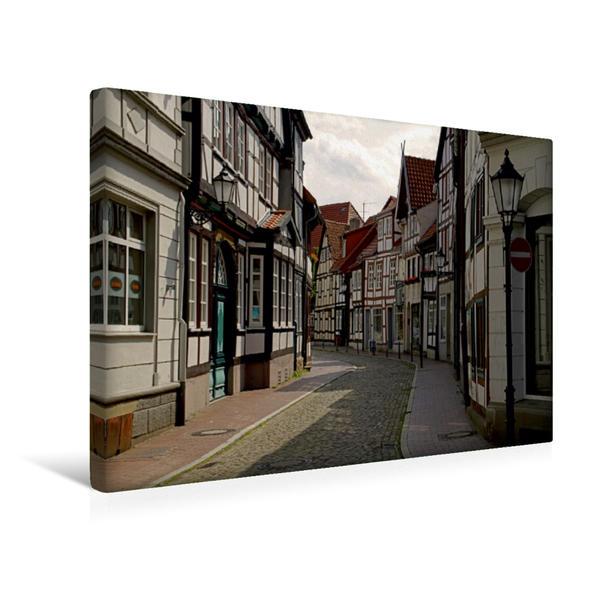 Premium Textil-Leinwand 45 cm x 30 cm quer, Gasse in der Hamelner Altstadt | Wandbild, Bild auf Keilrahmen, Fertigbild auf echter Leinwand, Leinwanddruck - Coverbild