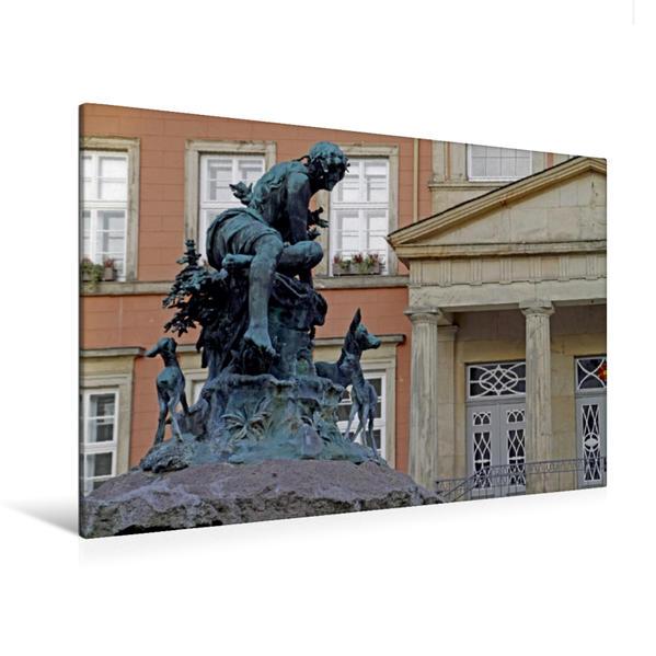 Premium Textil-Leinwand 120 cm x 80 cm quer, Donopbrunnen vor dem Rathaus in Detmold   Wandbild, Bild auf Keilrahmen, Fertigbild auf echter Leinwand, Leinwanddruck - Coverbild