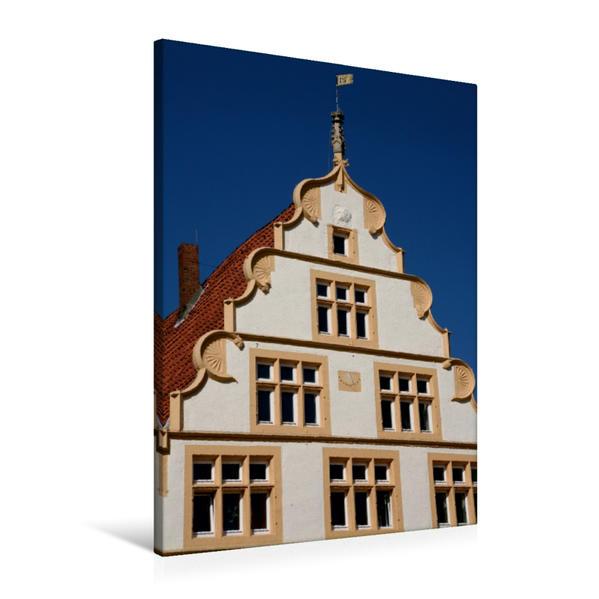 Premium Textil-Leinwand 60 cm x 90 cm hoch, Schmuckgiebel in der Mittelstrasse in Lemgo | Wandbild, Bild auf Keilrahmen, Fertigbild auf echter Leinwand, Leinwanddruck - Coverbild