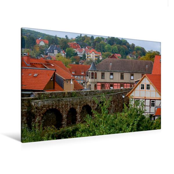 Premium Textil-Leinwand 120 cm x 80 cm quer, Stadtmauer in Wernigerode | Wandbild, Bild auf Keilrahmen, Fertigbild auf echter Leinwand, Leinwanddruck - Coverbild
