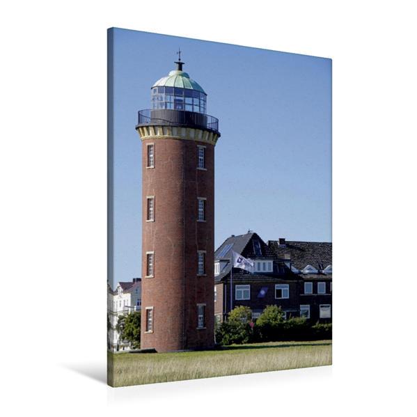 Premium Textil-Leinwand 60 cm x 90 cm hoch, Der Leuchtturm an der Alten Liebe in Cuxhaven | Wandbild, Bild auf Keilrahmen, Fertigbild auf echter Leinwand, Leinwanddruck - Coverbild