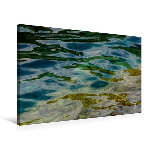 Premium Textil-Leinwand 75 cm x 50 cm quer, Wellen und Farben | Wandbild, Bild auf Keilrahmen, Fertigbild auf echter Leinwand, Leinwanddruck - Coverbild
