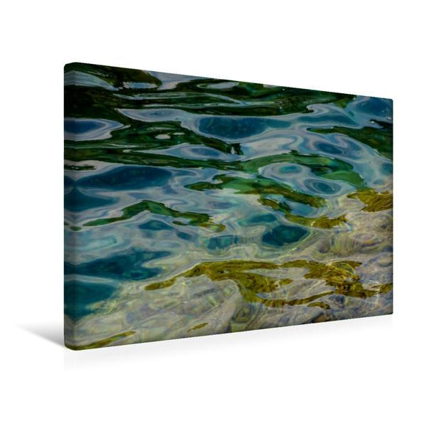 Premium Textil-Leinwand 45 cm x 30 cm quer, Wellen und Farben   Wandbild, Bild auf Keilrahmen, Fertigbild auf echter Leinwand, Leinwanddruck - Coverbild