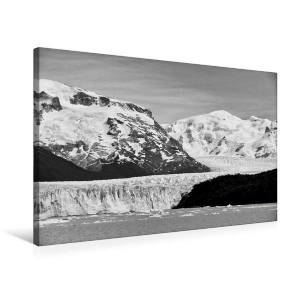 Premium Textil-Leinwand 75 cm x 50 cm quer, Perito-Moreno-Gletscher in schwarzweiss | Wandbild, Bild auf Keilrahmen, Fertigbild auf echter Leinwand, Leinwanddruck - Coverbild