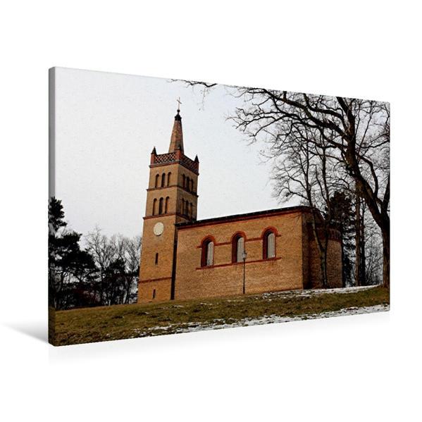 Premium Textil-Leinwand 90 cm x 60 cm quer, Dorfkirche in Petzow | Wandbild, Bild auf Keilrahmen, Fertigbild auf echter Leinwand, Leinwanddruck - Coverbild