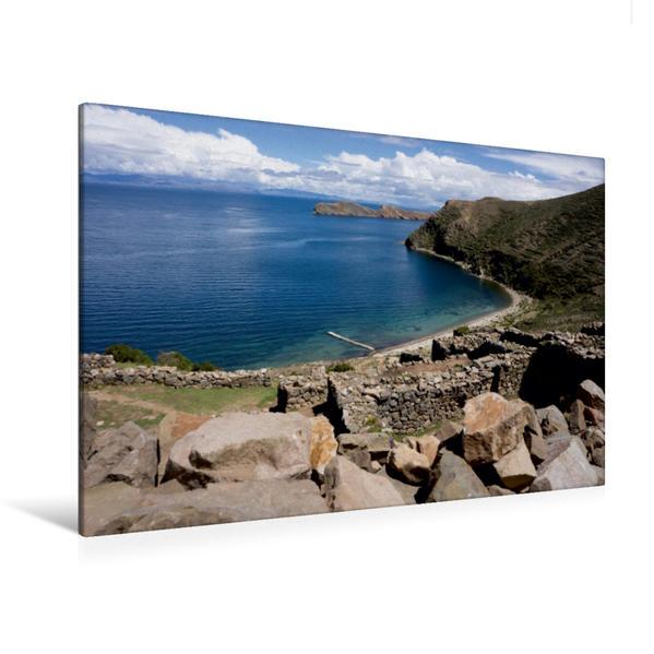 Premium Textil-Leinwand 120 cm x 80 cm quer, Titicacasee - Bolivien | Wandbild, Bild auf Keilrahmen, Fertigbild auf echter Leinwand, Leinwanddruck - Coverbild