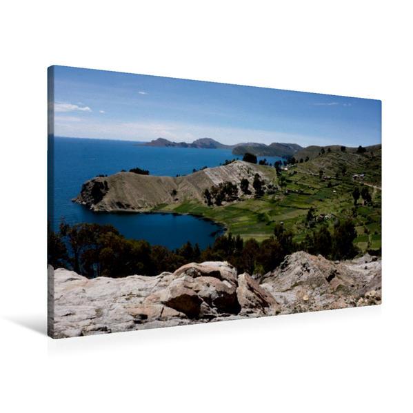 Premium Textil-Leinwand 90 cm x 60 cm quer, Titicacasee - Bolivien | Wandbild, Bild auf Keilrahmen, Fertigbild auf echter Leinwand, Leinwanddruck - Coverbild