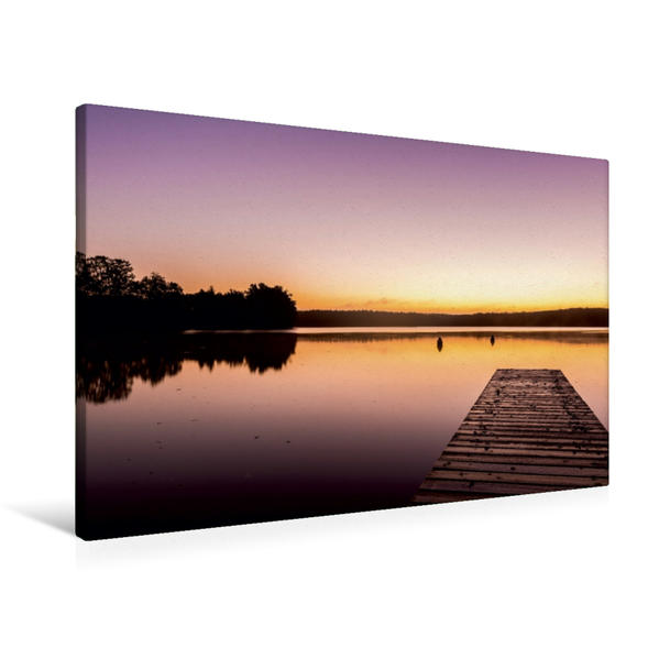 Premium Textil-Leinwand 90 cm x 60 cm quer, Morgen am See | Wandbild, Bild auf Keilrahmen, Fertigbild auf echter Leinwand, Leinwanddruck - Coverbild