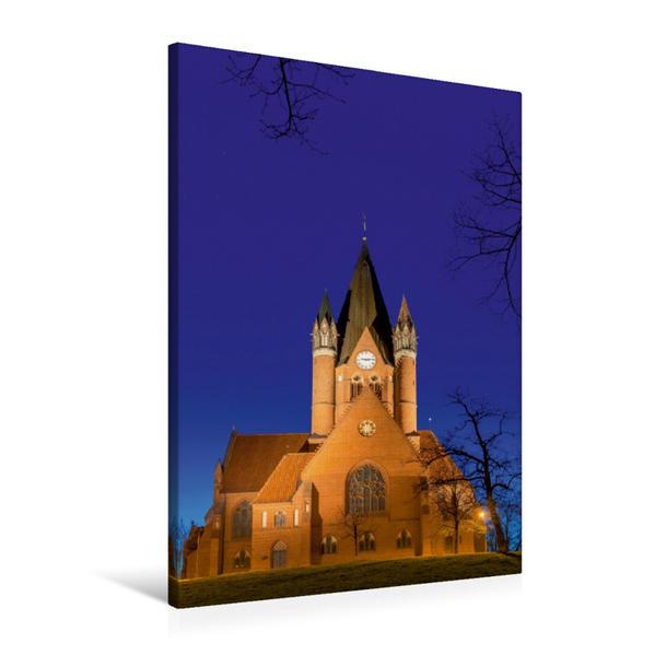 Premium Textil-Leinwand 60 cm x 90 cm hoch, Pauluskirche am Abend   Wandbild, Bild auf Keilrahmen, Fertigbild auf echter Leinwand, Leinwanddruck - Coverbild