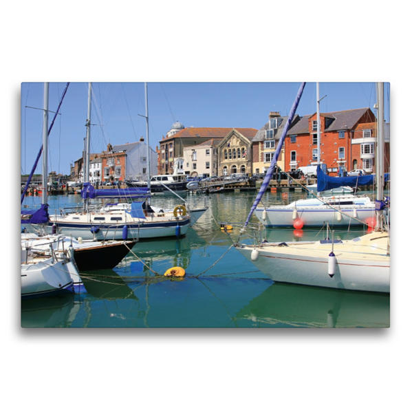 Premium Textil-Leinwand 75 cm x 50 cm quer, Alter Hafen in Weymouth, Dorset | Wandbild, Bild auf Keilrahmen, Fertigbild auf echter Leinwand, Leinwanddruck - Coverbild