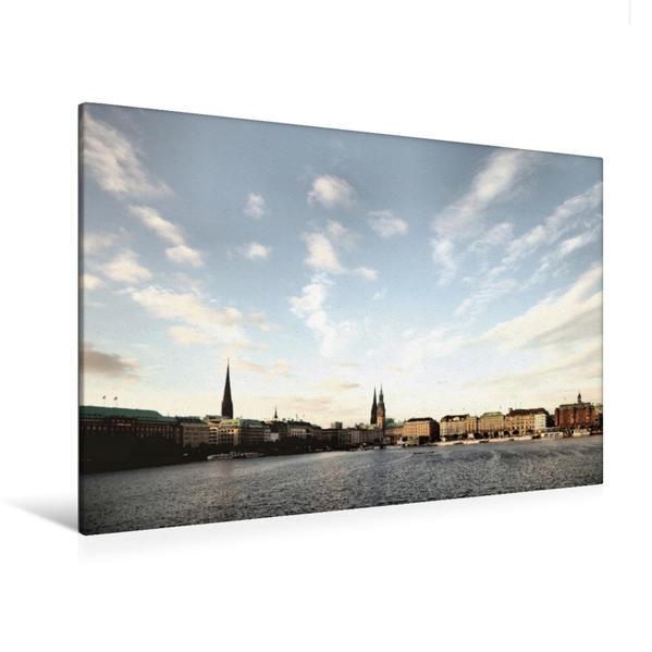 Premium Textil-Leinwand 120 cm x 80 cm quer, Binnenalster   Wandbild, Bild auf Keilrahmen, Fertigbild auf echter Leinwand, Leinwanddruck - Coverbild