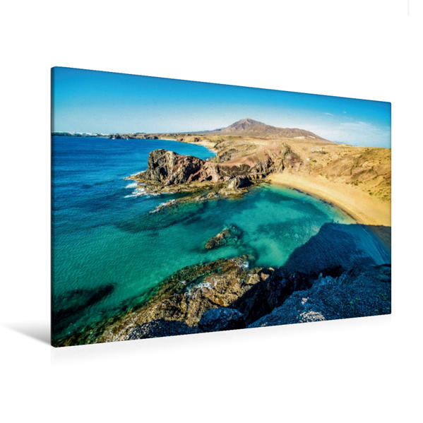 Premium Textil-Leinwand 120 cm x 80 cm quer, Playa Papagayo | Wandbild, Bild auf Keilrahmen, Fertigbild auf echter Leinwand, Leinwanddruck - Coverbild
