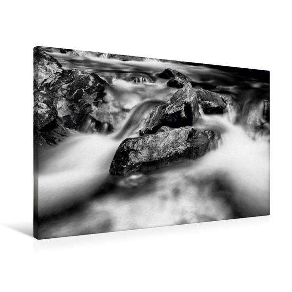 Premium Textil-Leinwand 90 cm x 60 cm quer, Ein Motiv aus dem Kalender Sanfte Wasser in Schwarzweiß   Wandbild, Bild auf Keilrahmen, Fertigbild auf echter Leinwand, Leinwanddruck - Coverbild