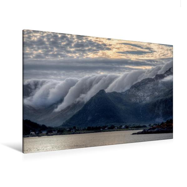 Premium Textil-Leinwand 120 cm x 80 cm quer, Lofoten | Wandbild, Bild auf Keilrahmen, Fertigbild auf echter Leinwand, Leinwanddruck - Coverbild