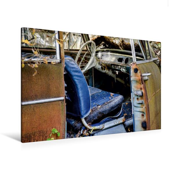 Premium Textil-Leinwand 120 cm x 80 cm quer, Blaues Design   Wandbild, Bild auf Keilrahmen, Fertigbild auf echter Leinwand, Leinwanddruck - Coverbild