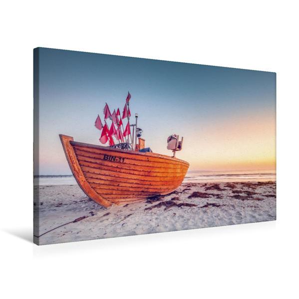 Premium Textil-Leinwand 75 cm x 50 cm quer, Letztes Fischerboot BIN-11 am Strand von Binz | Wandbild, Bild auf Keilrahmen, Fertigbild auf echter Leinwand, Leinwanddruck - Coverbild