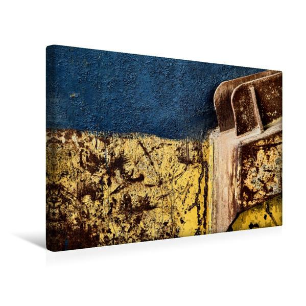 Premium Textil-Leinwand 45 cm x 30 cm quer, Blau - Gelb - Ein Motiv aus dem Kalender Im Alten Stahlwerk | Wandbild, Bild auf Keilrahmen, Fertigbild auf echter Leinwand, Leinwanddruck - Coverbild