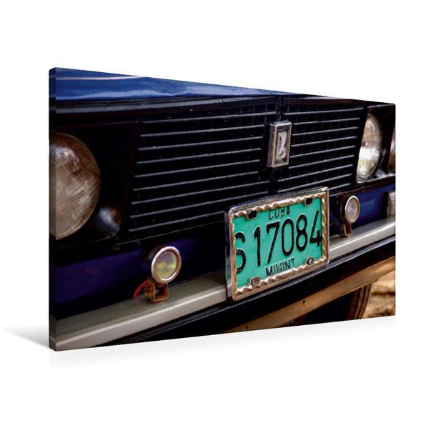Premium Textil-Leinwand 90 cm x 60 cm quer, LADA-PKW mit Kennzeichen des kubanischen Innenministeriums | Wandbild, Bild auf Keilrahmen, Fertigbild auf echter Leinwand, Leinwanddruck - Coverbild