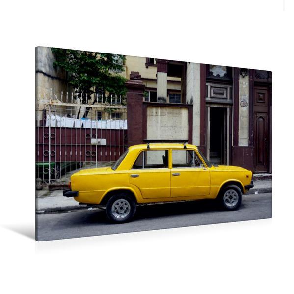 Premium Textil-Leinwand 120 cm x 80 cm quer, Sowjetischer PKW LADA in Havanna | Wandbild, Bild auf Keilrahmen, Fertigbild auf echter Leinwand, Leinwanddruck - Coverbild
