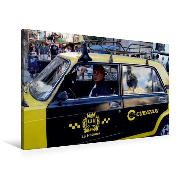 Premium Textil-Leinwand 90 cm x 60 cm quer, LADA-Taxi in Havanna | Wandbild, Bild auf Keilrahmen, Fertigbild auf echter Leinwand, Leinwanddruck - Coverbild