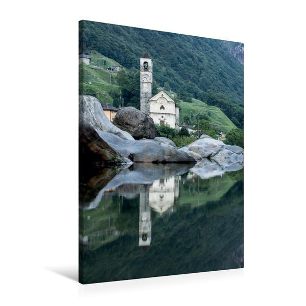 Premium Textil-Leinwand 60 cm x 90 cm hoch, Santa Maria Degli Angeli in Lavertezzo | Wandbild, Bild auf Keilrahmen, Fertigbild auf echter Leinwand, Leinwanddruck - Coverbild