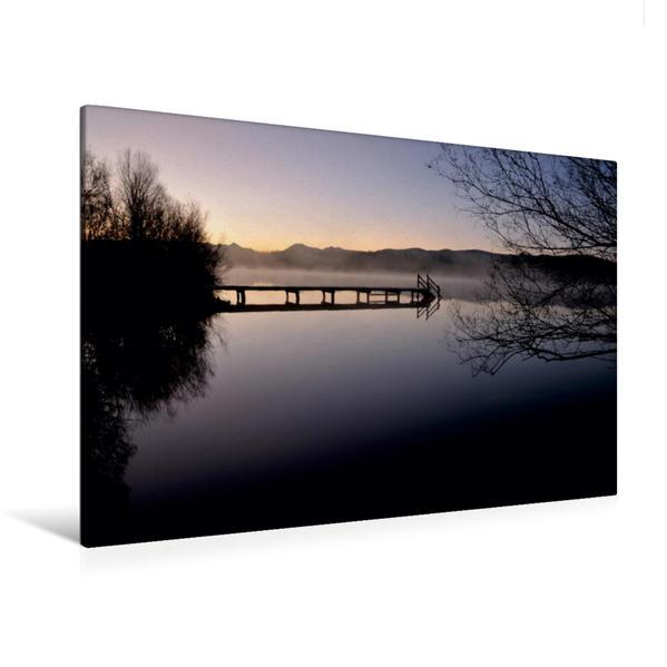 Premium Textil-Leinwand 120 cm x 80 cm quer, Still ruht der See | Wandbild, Bild auf Keilrahmen, Fertigbild auf echter Leinwand, Leinwanddruck - Coverbild