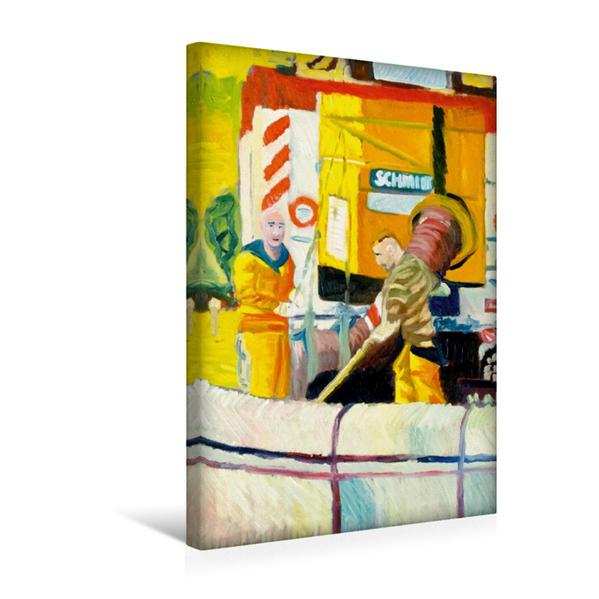 Premium Textil-Leinwand 30 cm x 45 cm hoch, Zwei Männer von den Stadtwerken Mainz | Wandbild, Bild auf Keilrahmen, Fertigbild auf echter Leinwand, Leinwanddruck - Coverbild