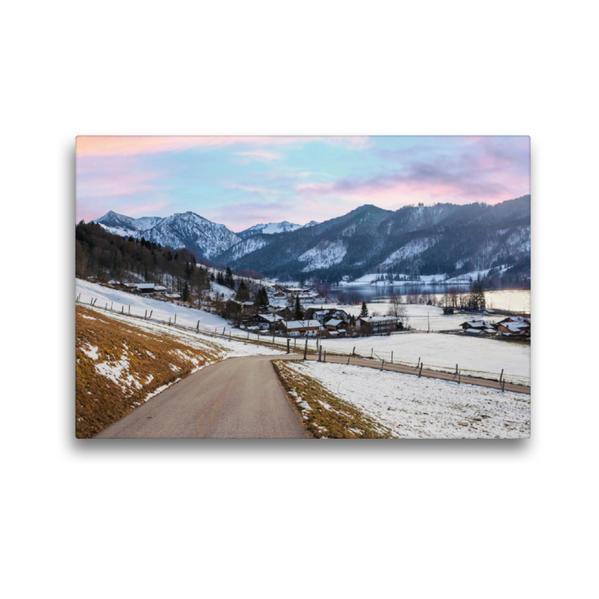 Premium Textil-Leinwand 45 cm x 30 cm quer, Unterleiten am Schliersee | Wandbild, Bild auf Keilrahmen, Fertigbild auf echter Leinwand, Leinwanddruck - Coverbild