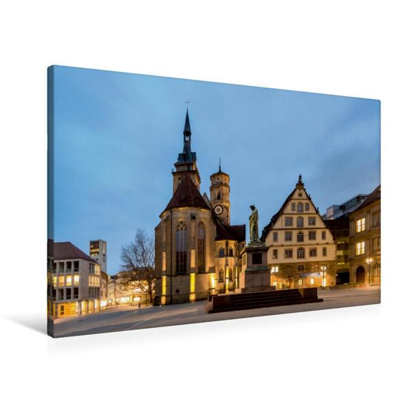 Premium Textil-Leinwand 90 cm x 60 cm quer, Stuttgart - Schillerplatz mit Stiftskirche | Wandbild, Bild auf Keilrahmen, Fertigbild auf echter Leinwand, Leinwanddruck - Coverbild