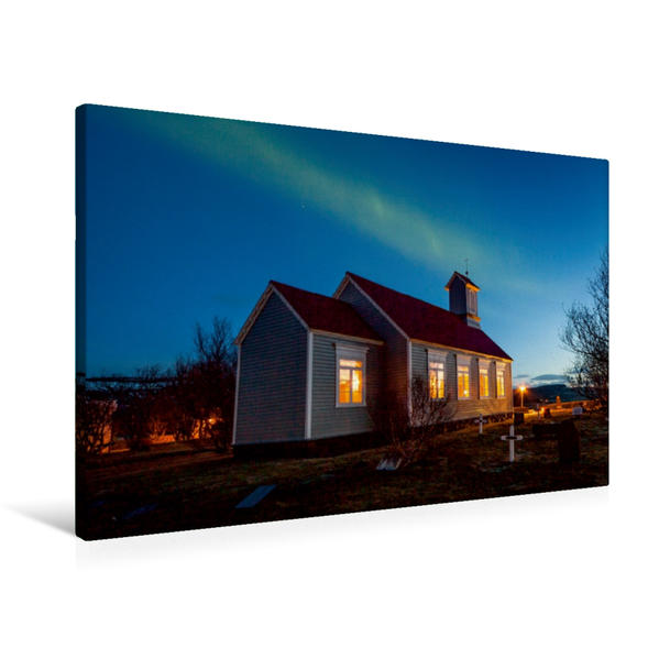 Premium Textil-Leinwand 90 cm x 60 cm quer, Reykholtskirkja unter Polarlichtern | Wandbild, Bild auf Keilrahmen, Fertigbild auf echter Leinwand, Leinwanddruck - Coverbild