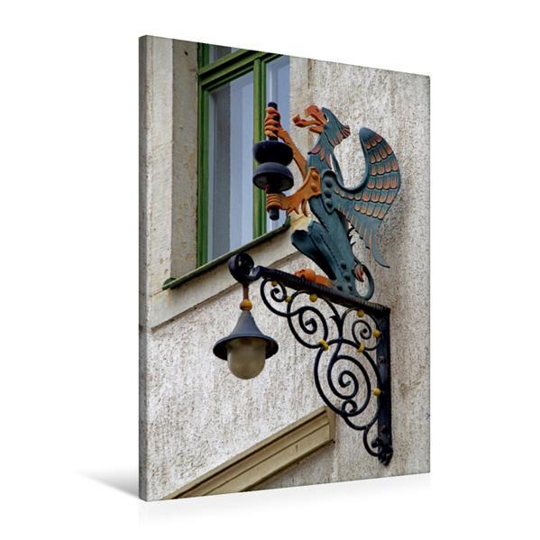 Premium Textil-Leinwand 60 cm x 90 cm hoch, Ladenschild in Pirna | Wandbild, Bild auf Keilrahmen, Fertigbild auf echter Leinwand, Leinwanddruck - Coverbild