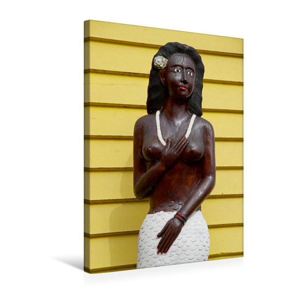 Premium Textil-Leinwand 50 cm x 75 cm hoch, Meerjungfrau an einer Hummerbude | Wandbild, Bild auf Keilrahmen, Fertigbild auf echter Leinwand, Leinwanddruck - Coverbild