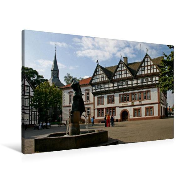 Premium Textil-Leinwand 90 cm x 60 cm quer, Marktplatz Blomberg | Wandbild, Bild auf Keilrahmen, Fertigbild auf echter Leinwand, Leinwanddruck - Coverbild
