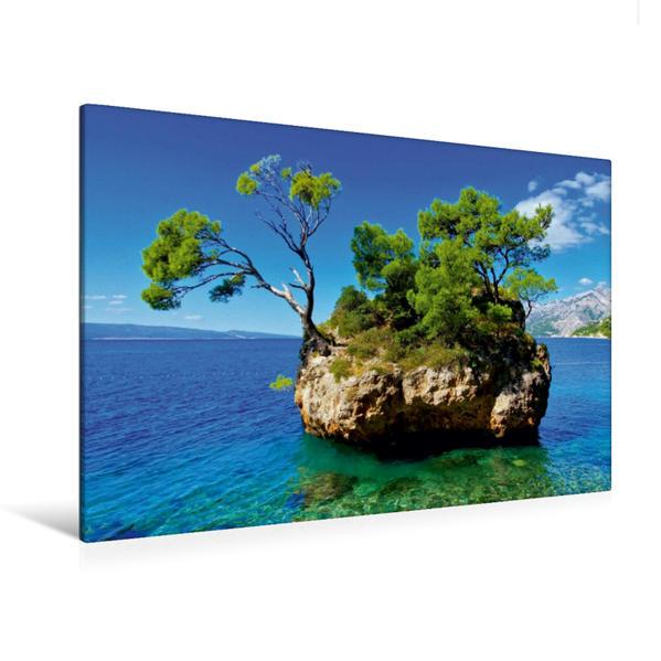 Premium Textil-Leinwand 120 cm x 80 cm quer, Strand Brela | Wandbild, Bild auf Keilrahmen, Fertigbild auf echter Leinwand, Leinwanddruck - Coverbild