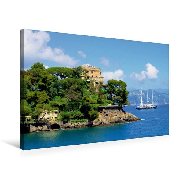 Premium Textil-Leinwand 75 cm x 50 cm quer, Villa in Portofino | Wandbild, Bild auf Keilrahmen, Fertigbild auf echter Leinwand, Leinwanddruck - Coverbild