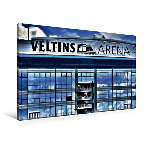 Premium Textil-Leinwand 90 cm x 60 cm quer, Veltins Arena | Wandbild, Bild auf Keilrahmen, Fertigbild auf echter Leinwand, Leinwanddruck - Coverbild