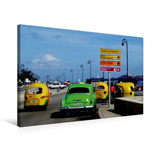 Premium Textil-Leinwand 75 cm x 50 cm quer, Coco-Taxis in Havanna | Wandbild, Bild auf Keilrahmen, Fertigbild auf echter Leinwand, Leinwanddruck - Coverbild